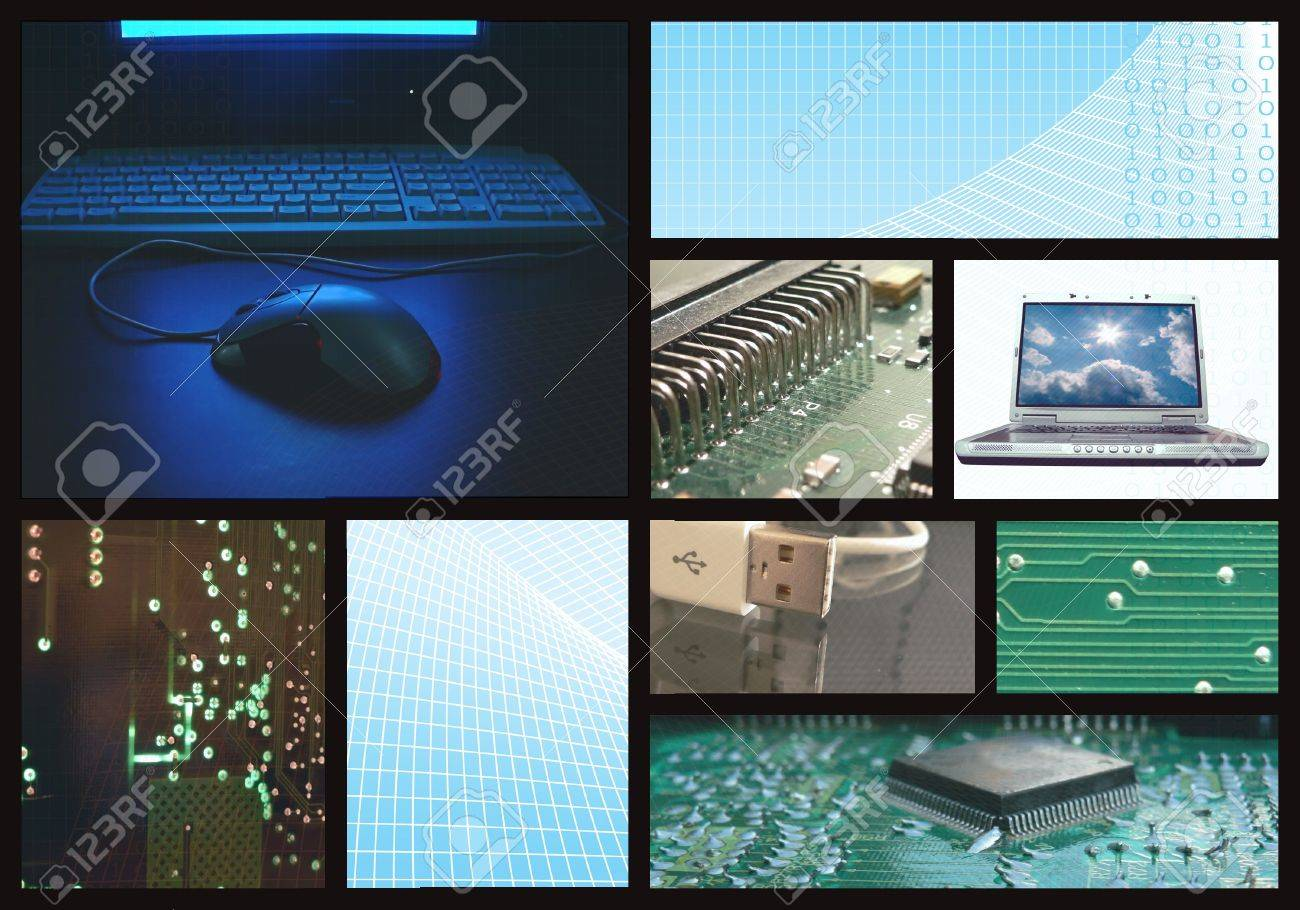 a digital and photo collage of computer technology images Stock Photo - 5748960
