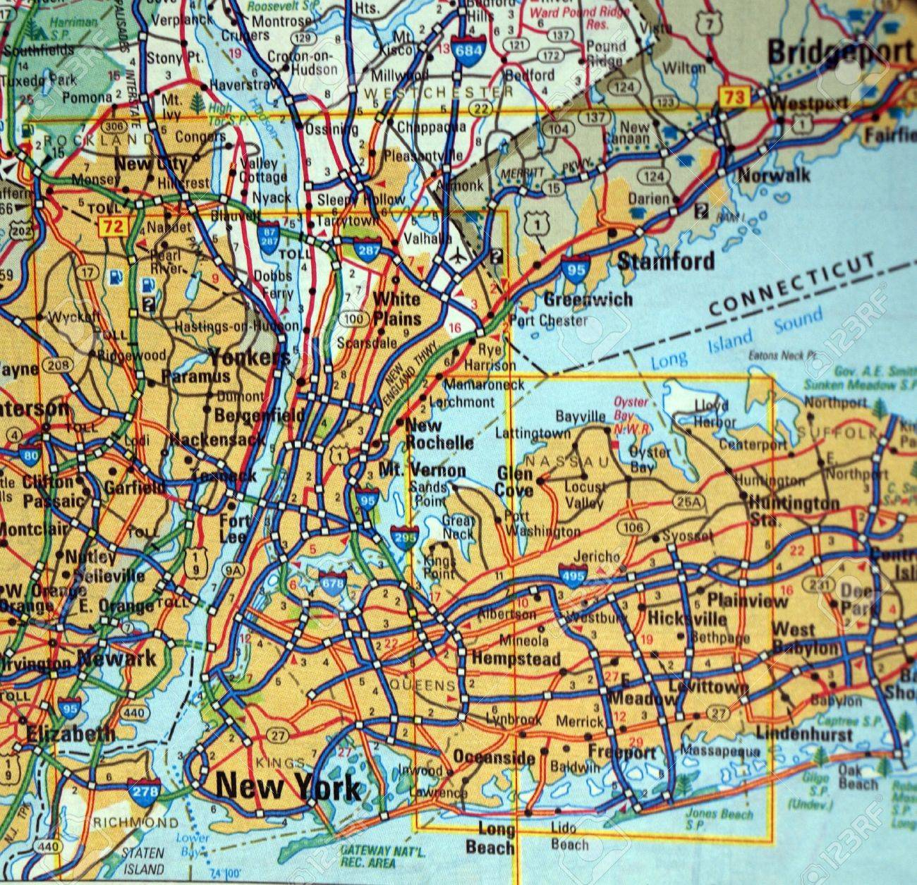 A Road Map Of The New York City, NY. Metropolitan Area Stock Photo ...