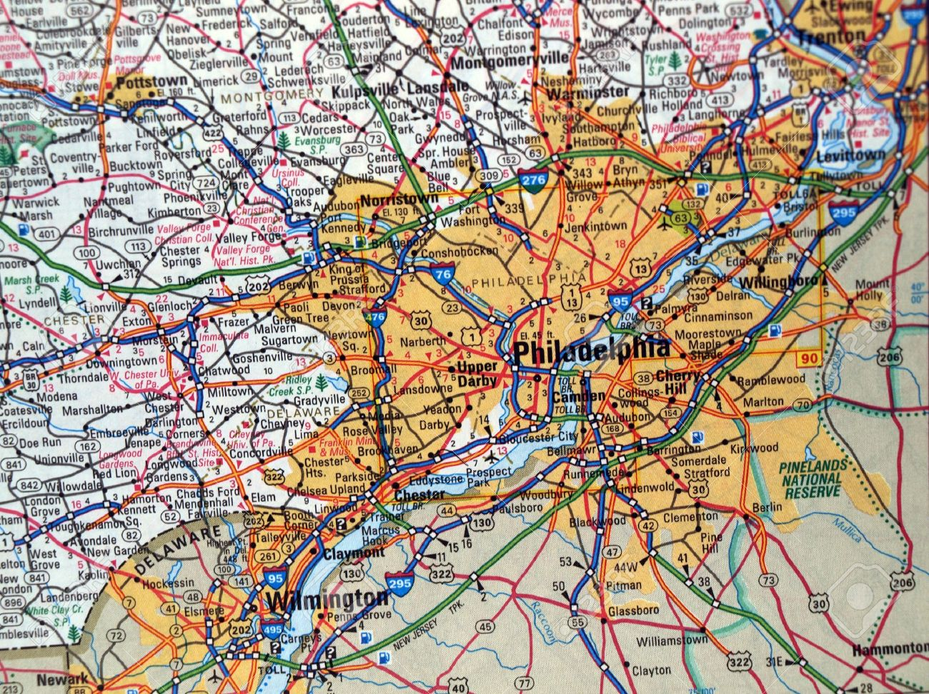 A Road Map Of The Philadelphia PA Metropolitan Area Stock Photo - Road map of pa