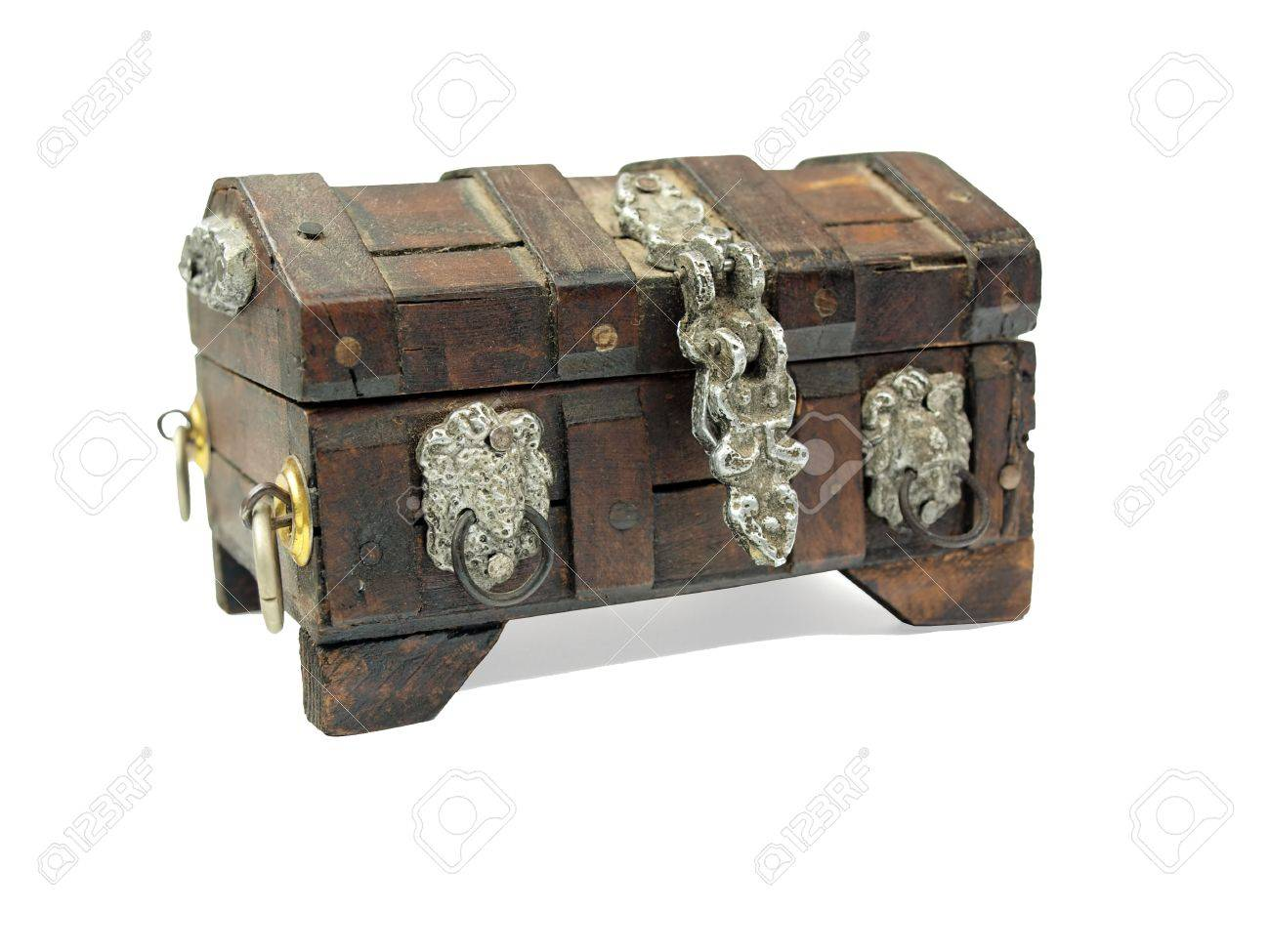a miniature wooden pirate treasure chest on a white background
