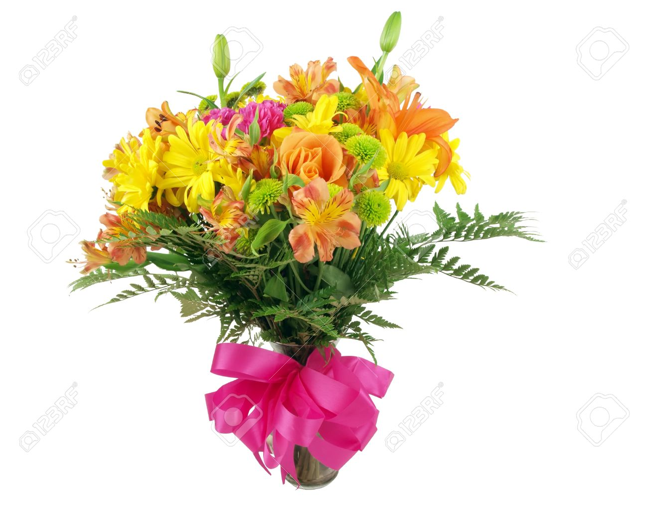 A Colorful Flower Bouquet In A Clear Glass Vase On A White ...