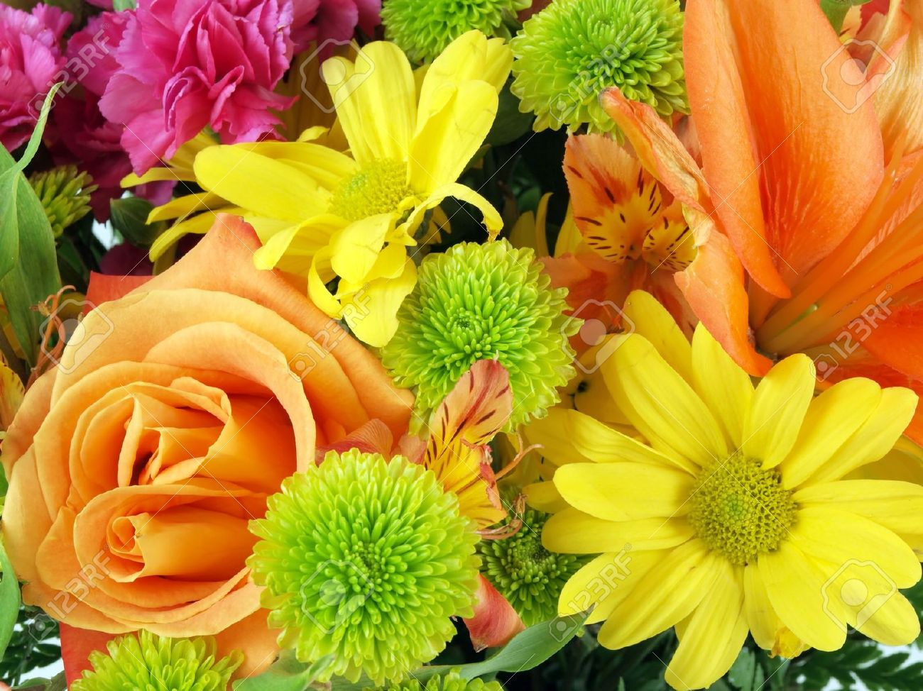 Close Up Of A Flower Bouquet On A White Background Stock Photo