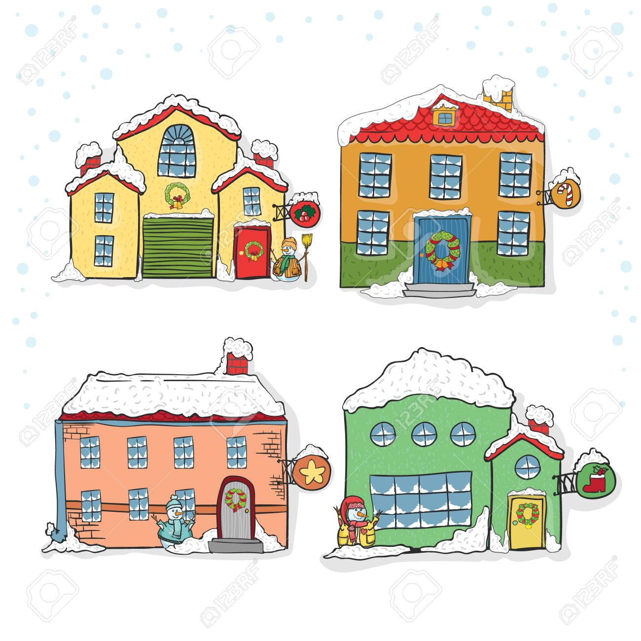 Set Of Winter Houses For Christmas Hand Draw Royalty Free Cliparts ...