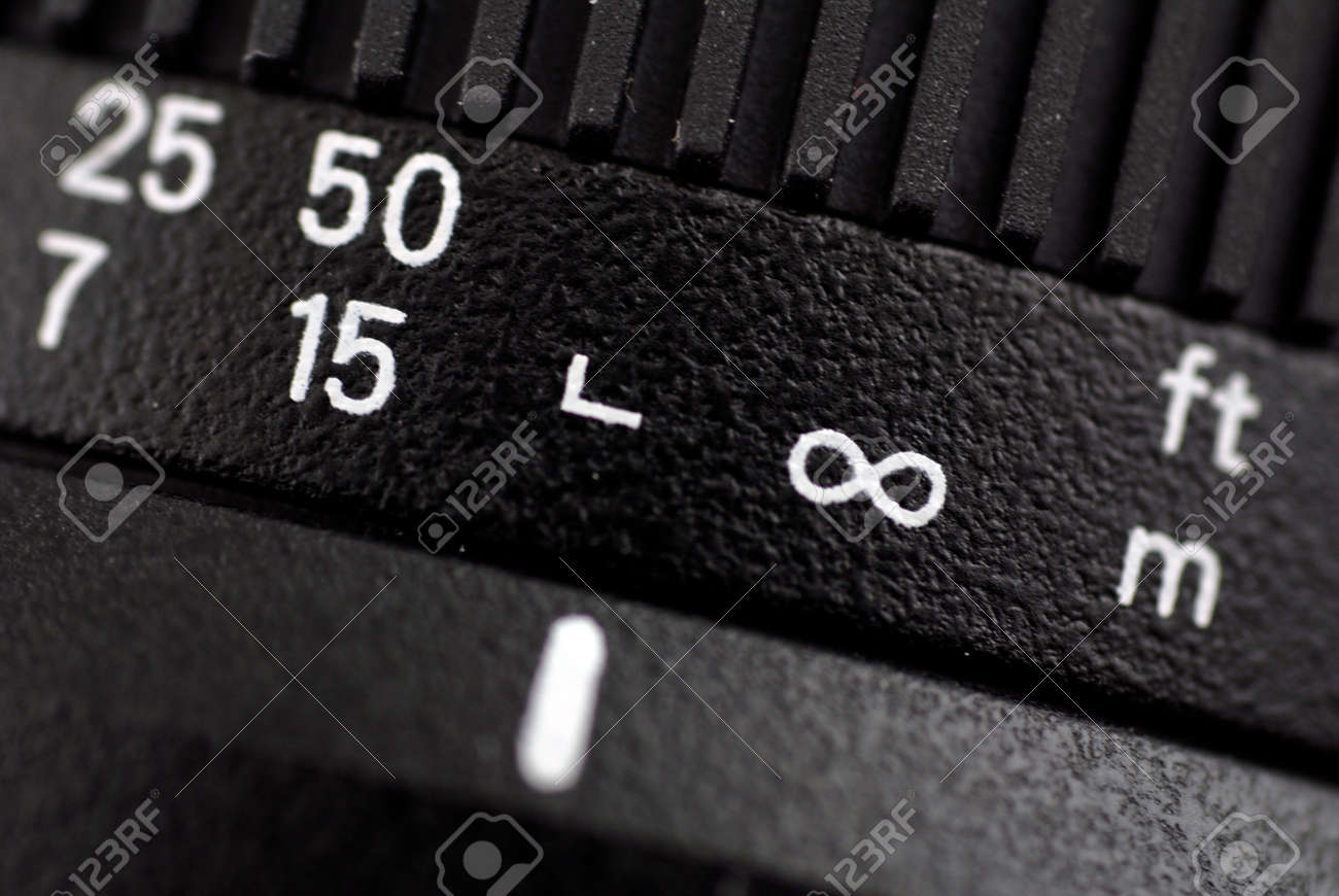 Macro Of Symbols On Distanse Scale Of Digital Camera Lens Whith