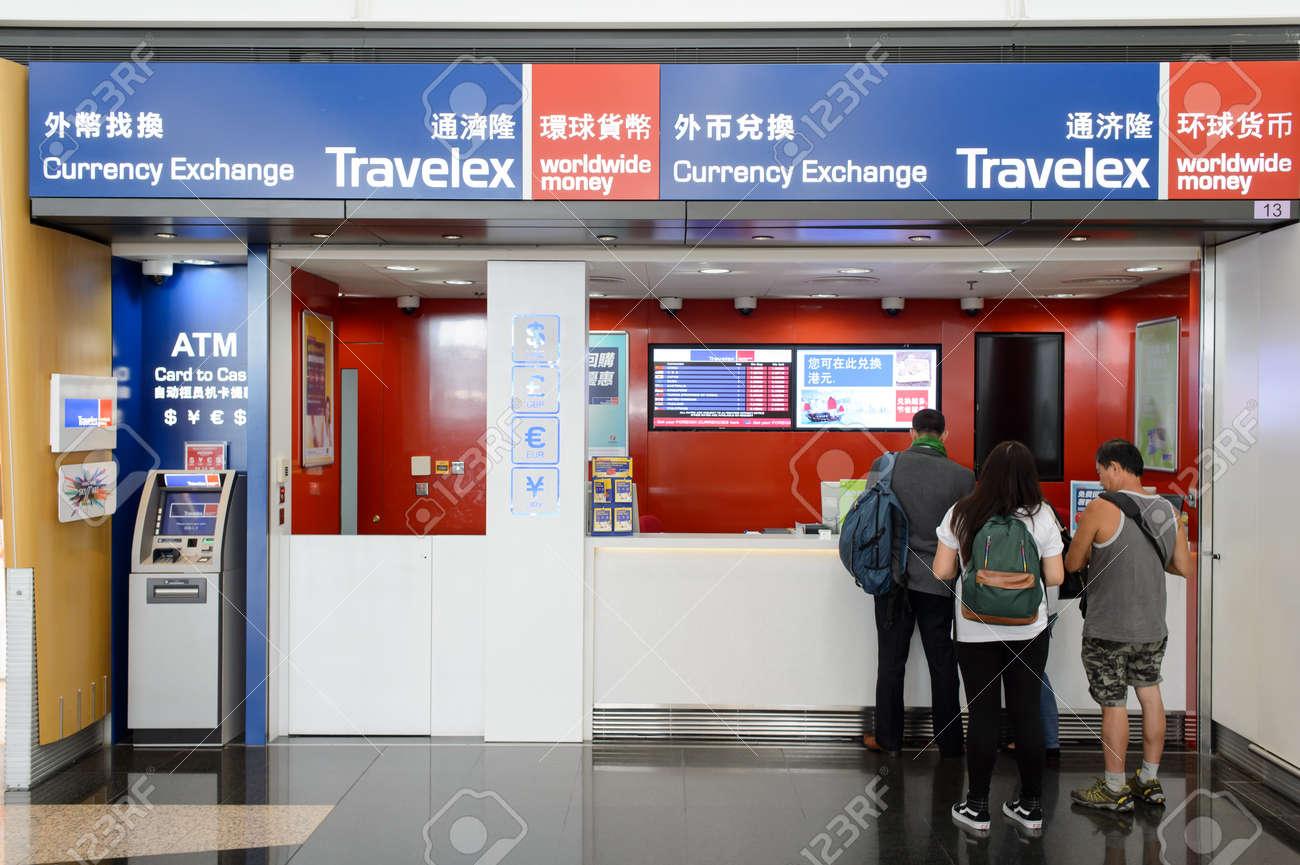 HONG KONG - JUNE 04, 2015: Travelex in Hong Kong Airport  Travelex