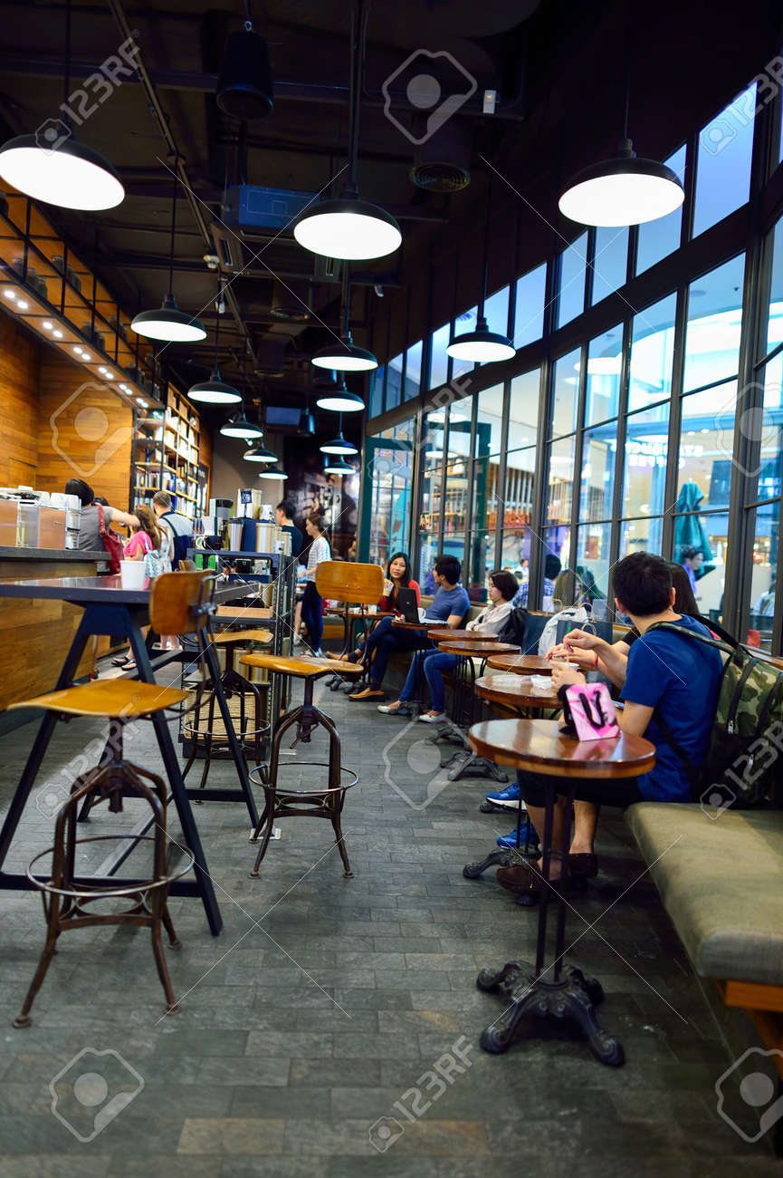 BANGKOK, THAILAND - JUNE 21, 2015: Starbucks Cafe Interior ...