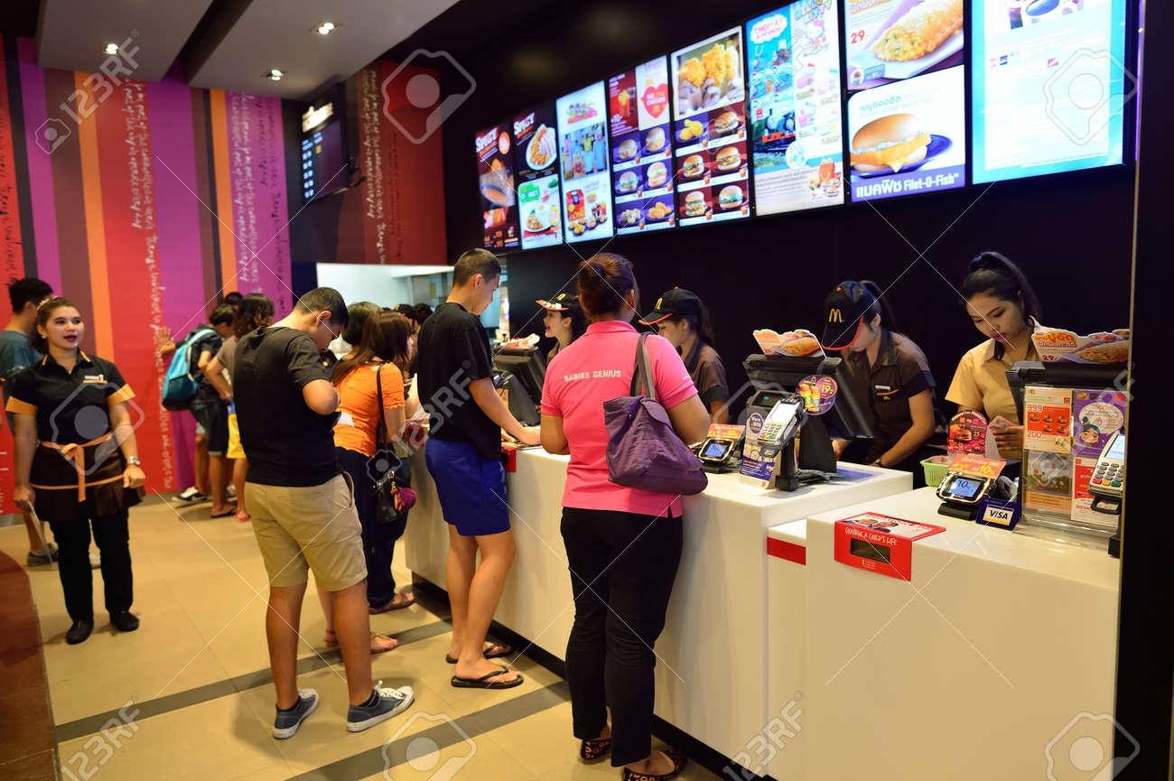 BANGKOK, THAILAND - JUNE 21, 2015: McDonald's restaurant interior