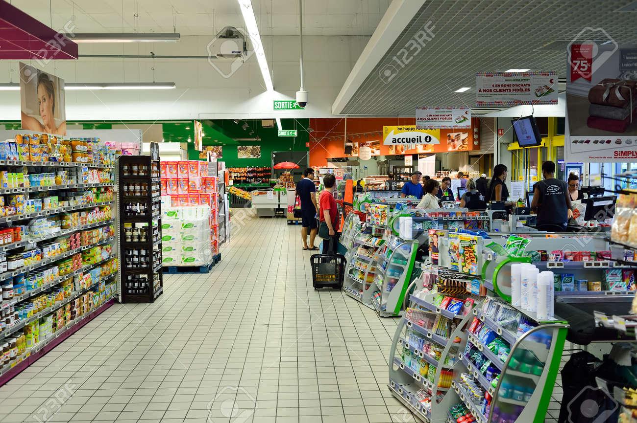 BEGLES, FRANCE - AUGUST 13, 2015: Simply Market supermarket interior