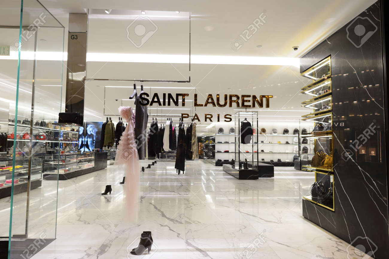 ff253a87c364a HONG KONG - OCTOBER 25, 2015: interior of Saint Laurent store. Saint Laurent