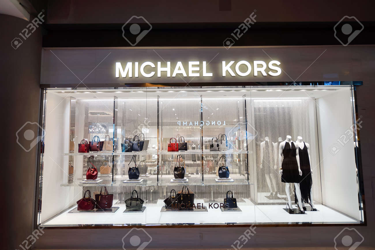 09f591767bc8 SINGAPORE - NOVEMBER 08, 2015: shopwindow of Michael Kors store. Michael  Kors Holdings