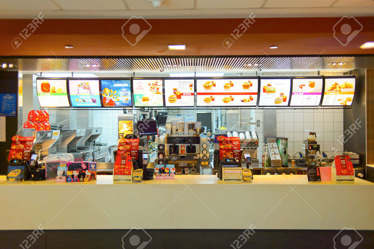 SHENZHEN, CHINA   MAY 25, 2015: Interior Of McDonaldu0027s Restaurant.  McDonaldu0027s Is