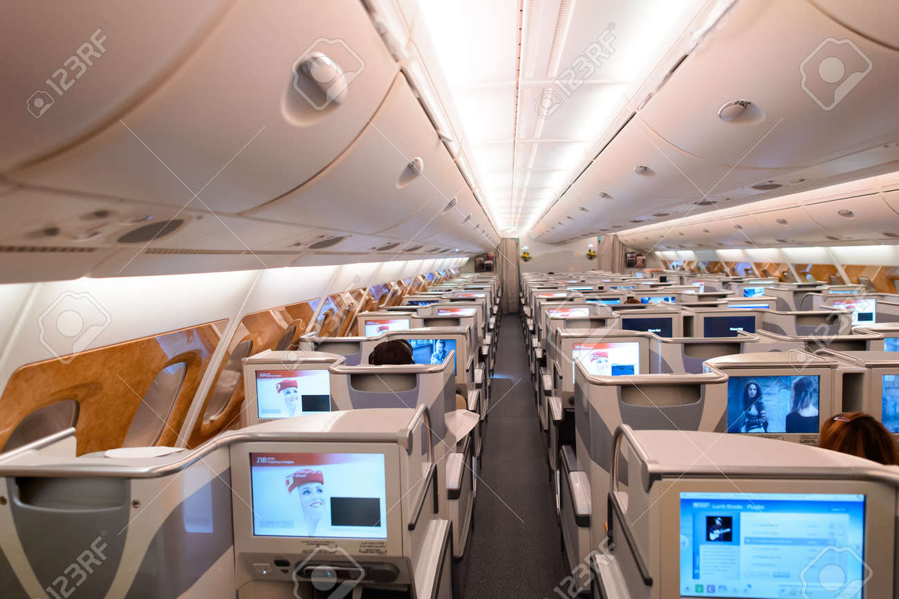 HONG KONG   JUNE 18, 2015: Emirates Airbus A380 Business Class Interior.  Emirates