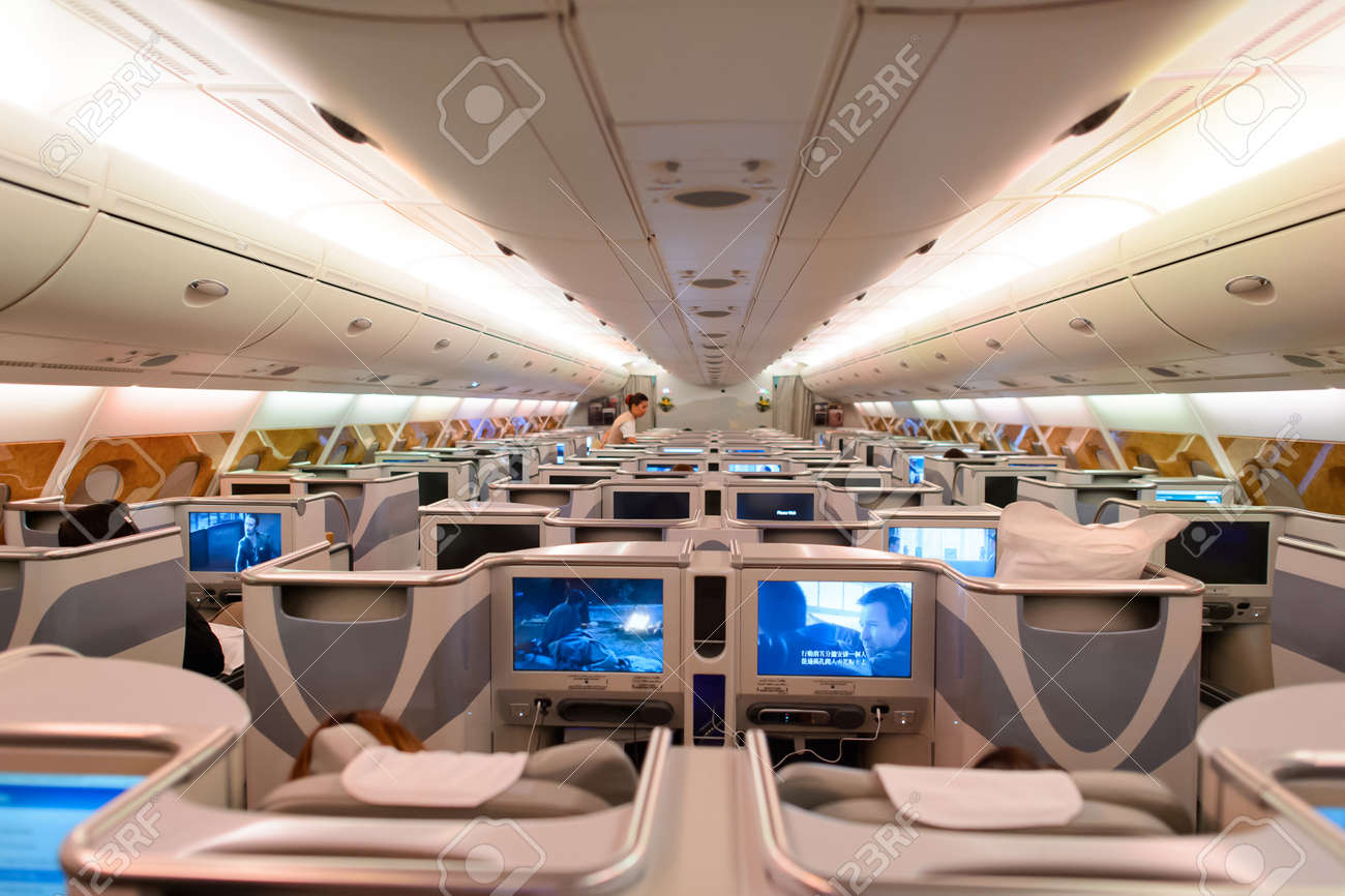 hong kong june 18 2015 emirates airbus a380 business class interior emirates