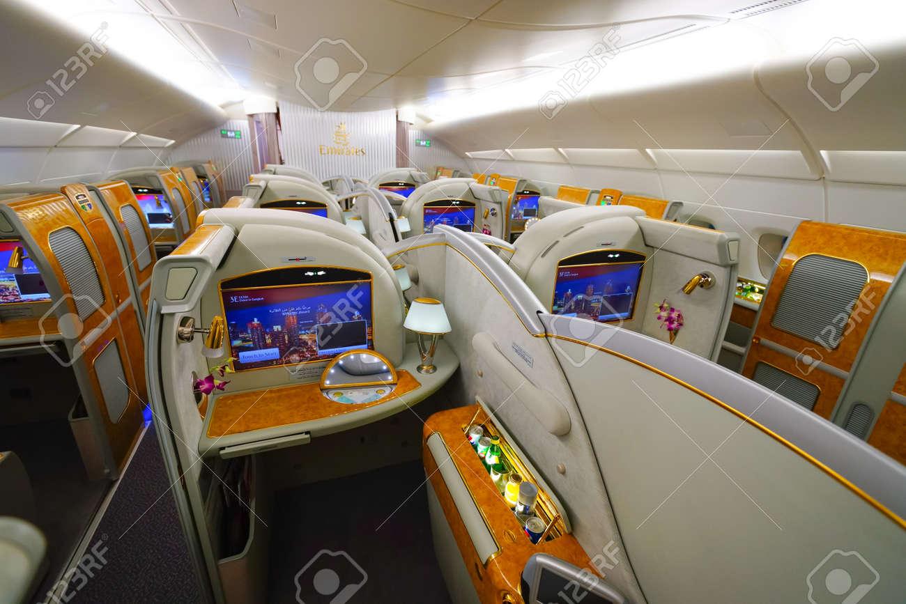 BANGKOK, THAILAND - MARCH 31, 2015: Emirates Airbus A380 Interior ...