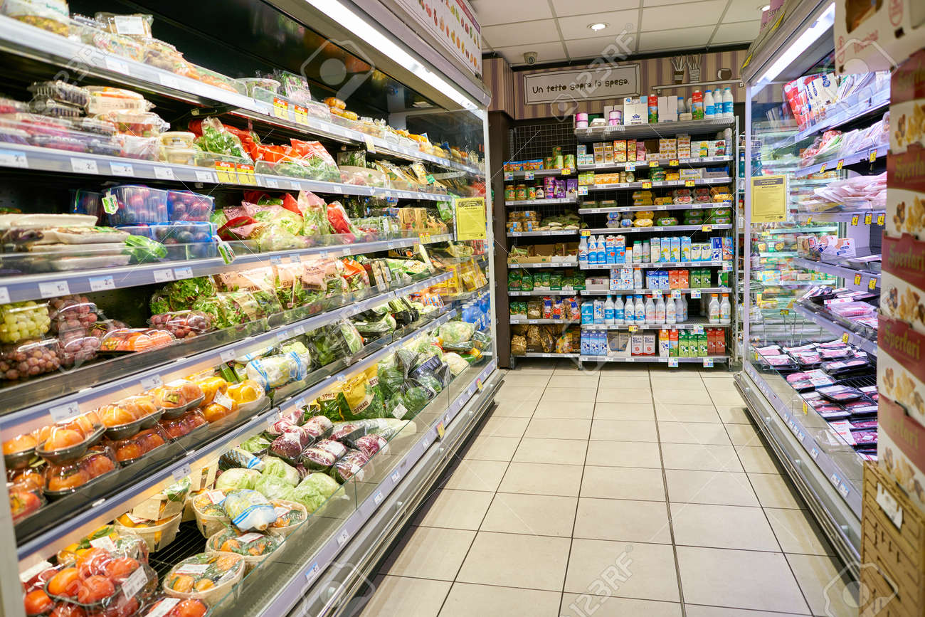 MILAN, ITALY - CIRCA NOVEMBER, 2017: food products for sale in
