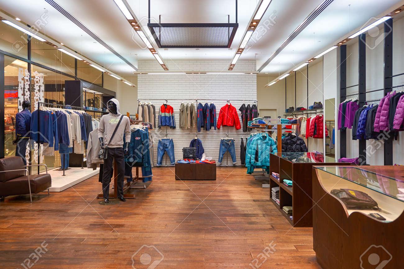 DUBAI, UAE - CIRCA OCTOBER, 2014: interior shot of apparel store