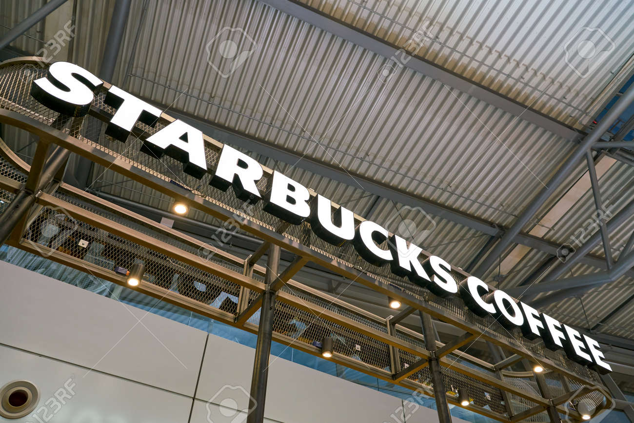 DUSSELDORF, GERMANY - CIRCA OCTOBER, 2018: Starbucks sign in