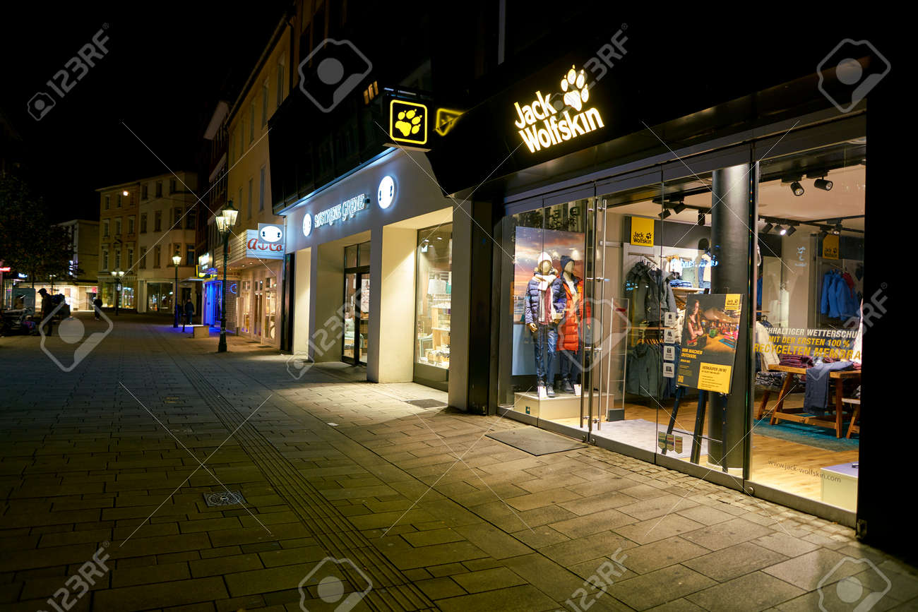 new concept 3c87a be28a DUSSELDORF, GERMANY - CIRCA SEPTEMBER, 2018: Jack Wolfskin shop..