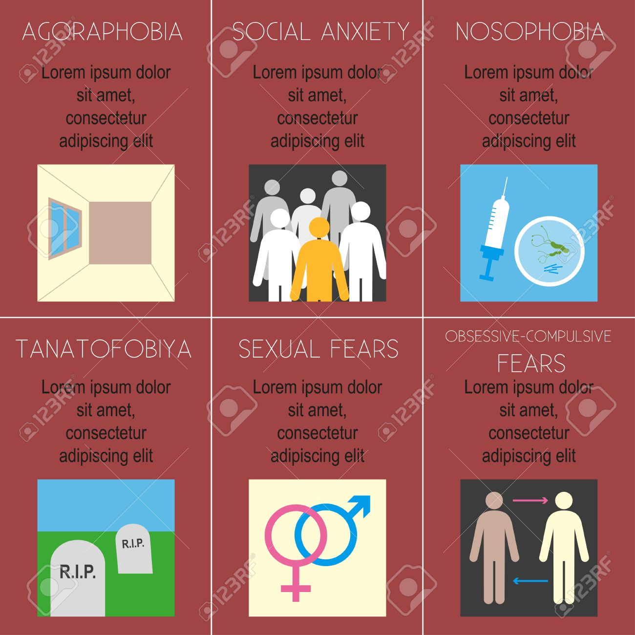 Poster design description - Poster Design Description Poster With The Title And Description Of Phobias Various Phobias Flat Design