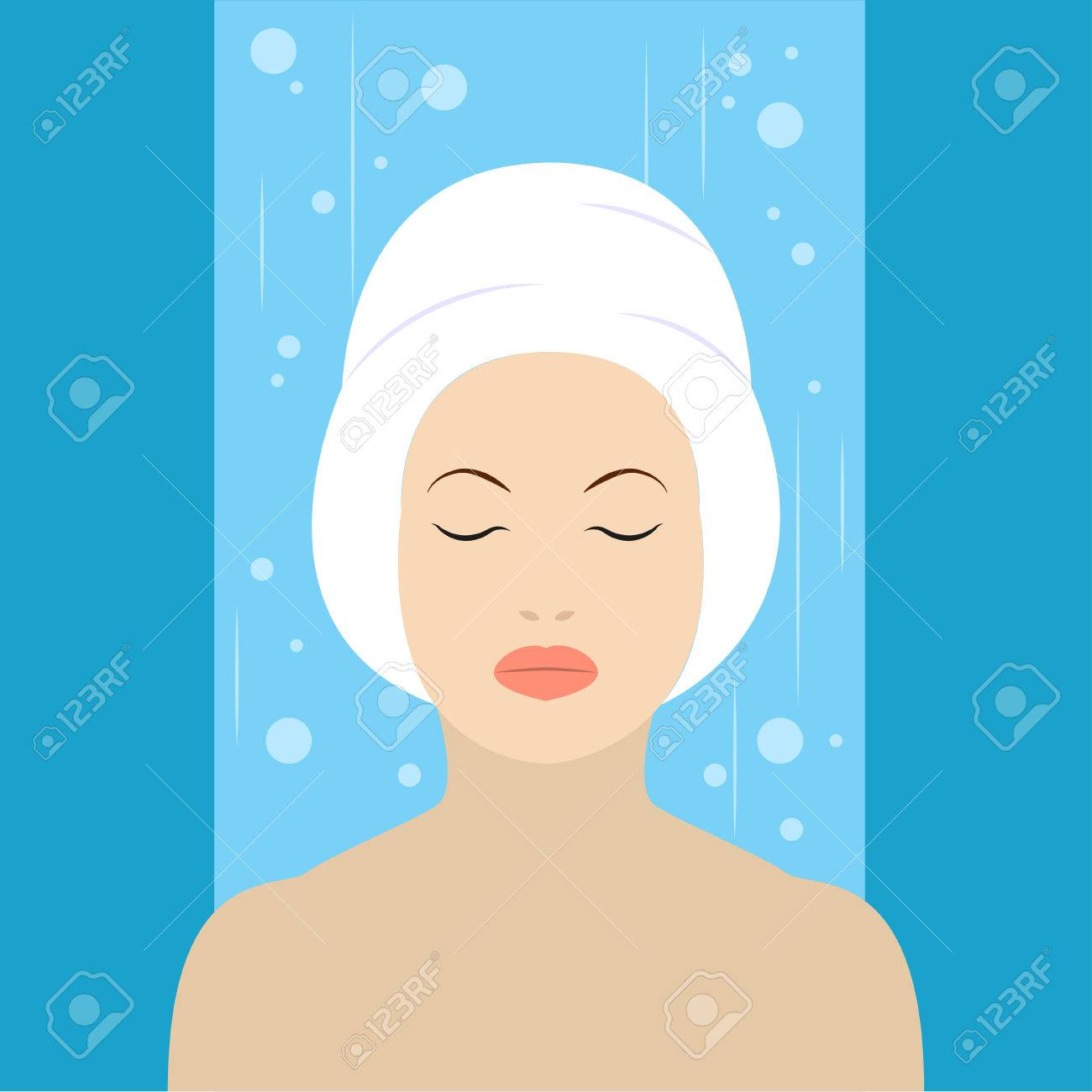 Girl With White Towel On Head In The Shower Flat Design Royalty Free ...