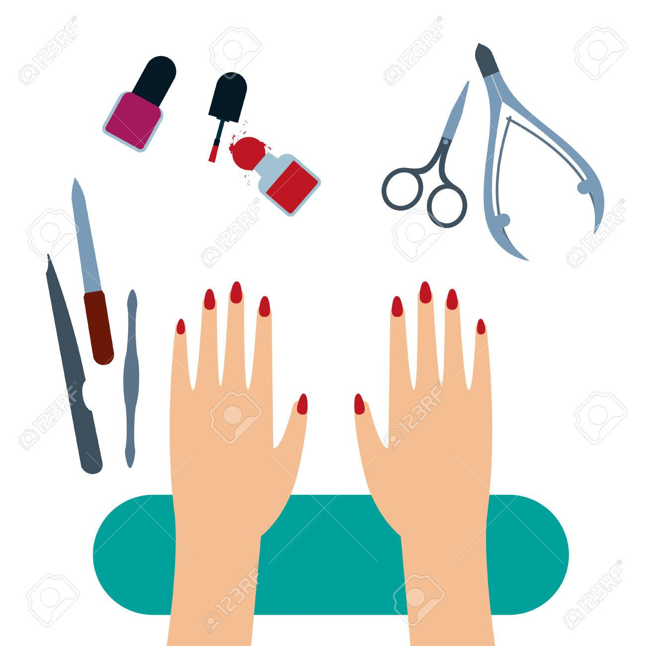 Female Hands With Painted Nails On The Manicure Table With Set ...