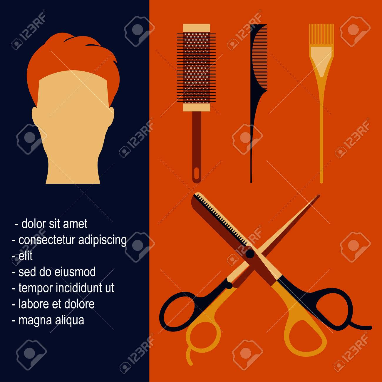 Poster design tools - Poster With Beauty Salon Tools And Man With Hipster Hairstyle In Flat Design Scissors Hair