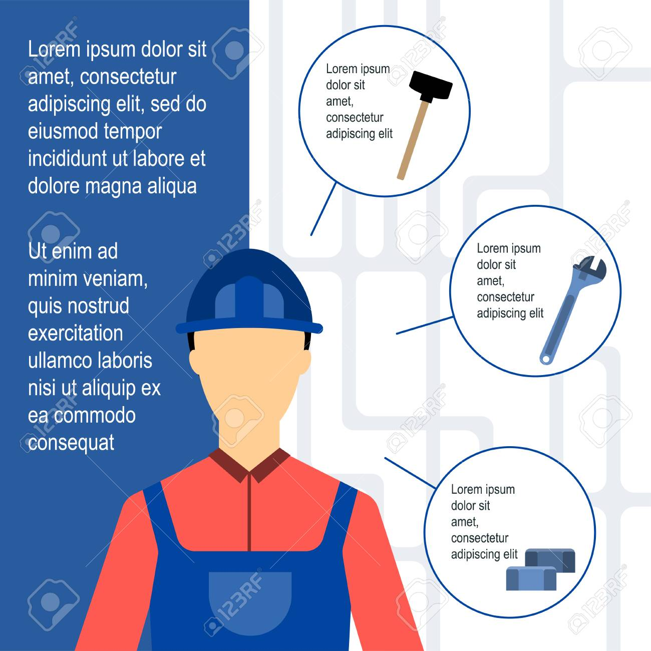 Template Of Poster With Plumber And Tools For Work On White ...