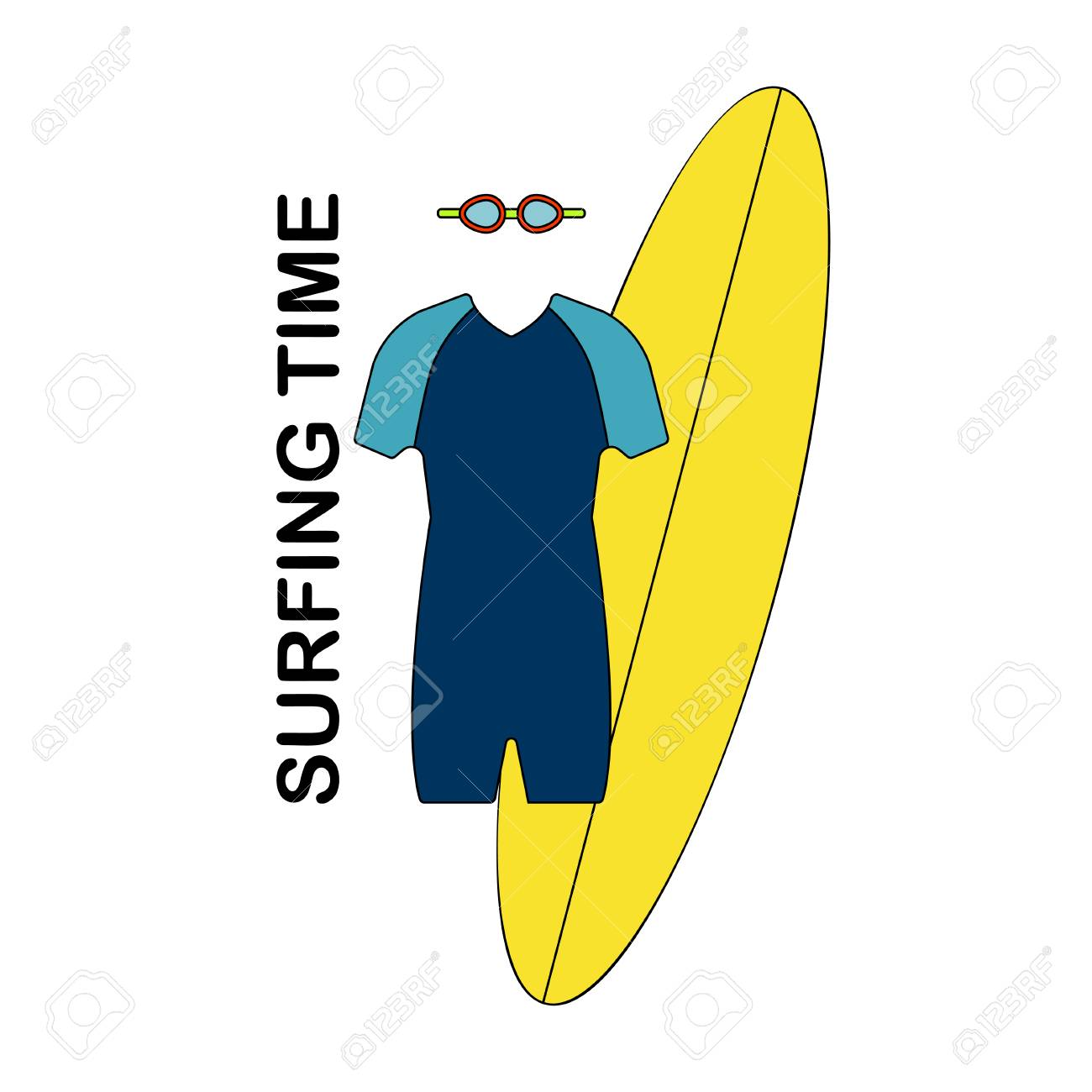 Surfing Icon Vector Illustration Male Surf Suit, Surf Board And ...