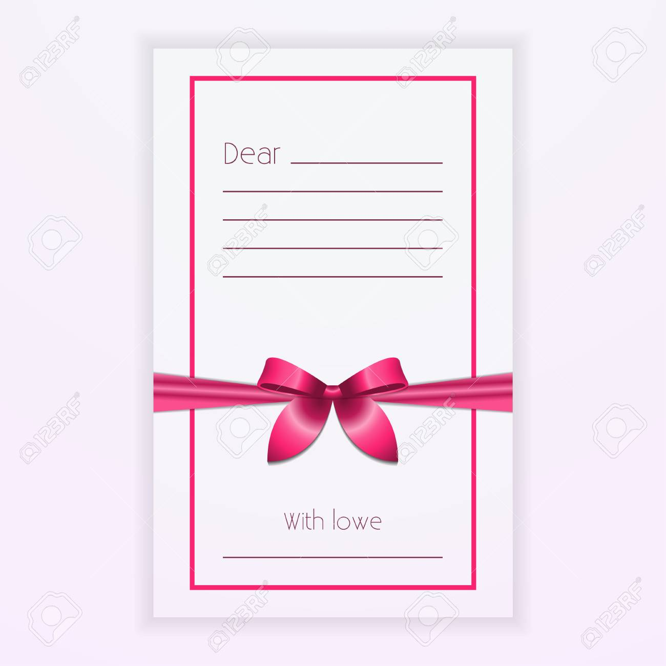 Pink Ribbon Bow On Postcard Vector Illustration Trendy Template With Space For Text Bandaged A