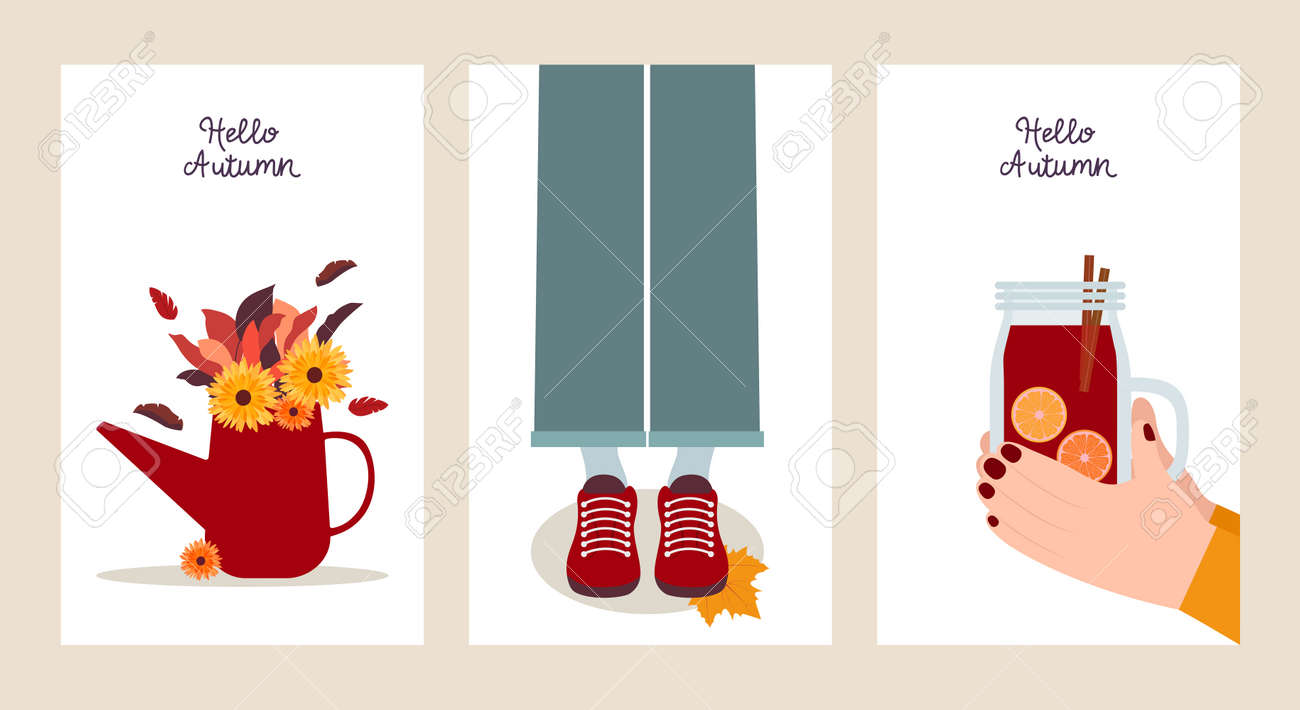 Hello autumn. Set of postcard templates in flat design. Three colorful banners with autumn illustrations. Autumn bouquet, mulled wine and leaf fall - 173010544