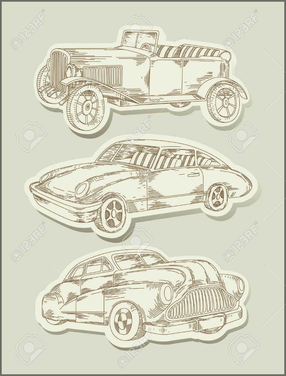 Vintage Cars Line Drawing Objects Stock Vector