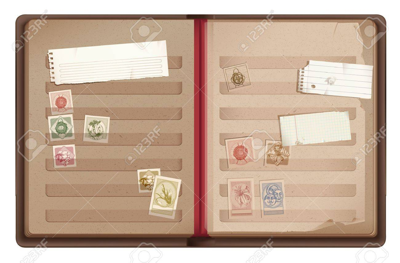 Brown old stamp book Philately album