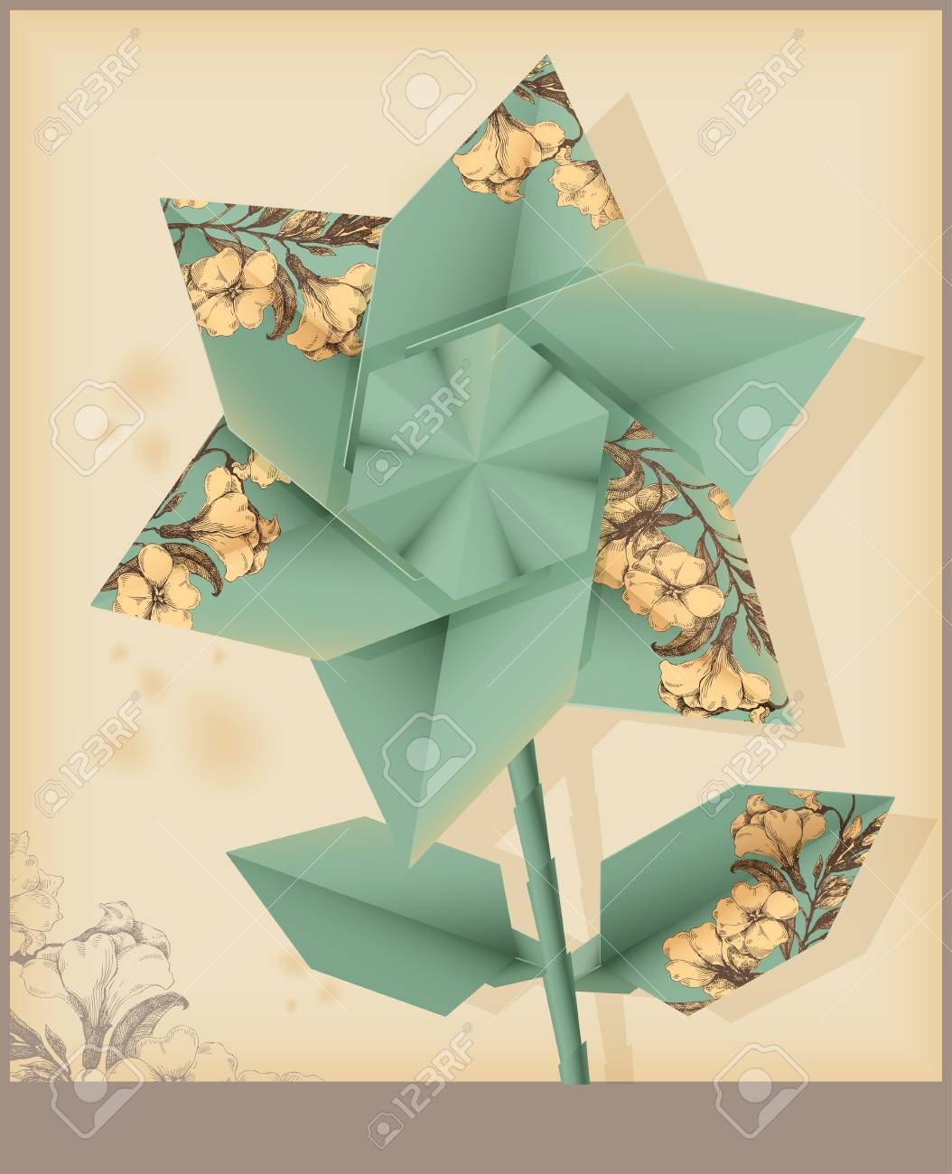Star Flower Made From Vintage Decorative Paper Royalty Free Cliparts