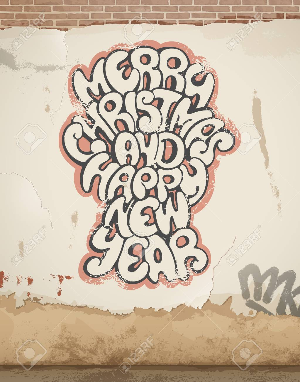 Christmas greetings spray painted on old wall eps 10 royalty free christmas greetings spray painted on old wall eps 10 stock vector 24168004 m4hsunfo