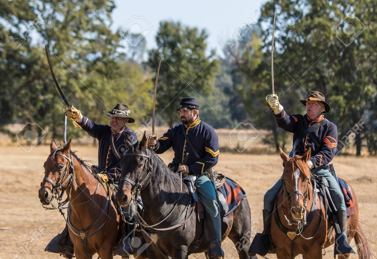 Union cavalry scouts, Civil War reenactment, Anderson, California