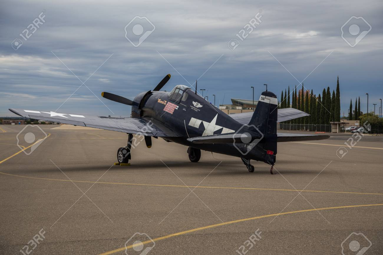 F4F Wildcat belonging to the Commemorative Air Force sits on