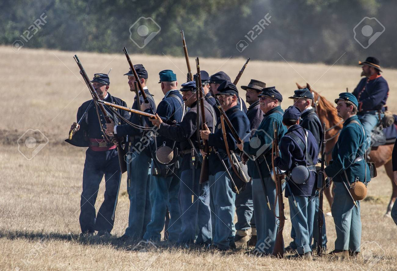 Civil War reenactment action at Hawes Farm in Anderson, California