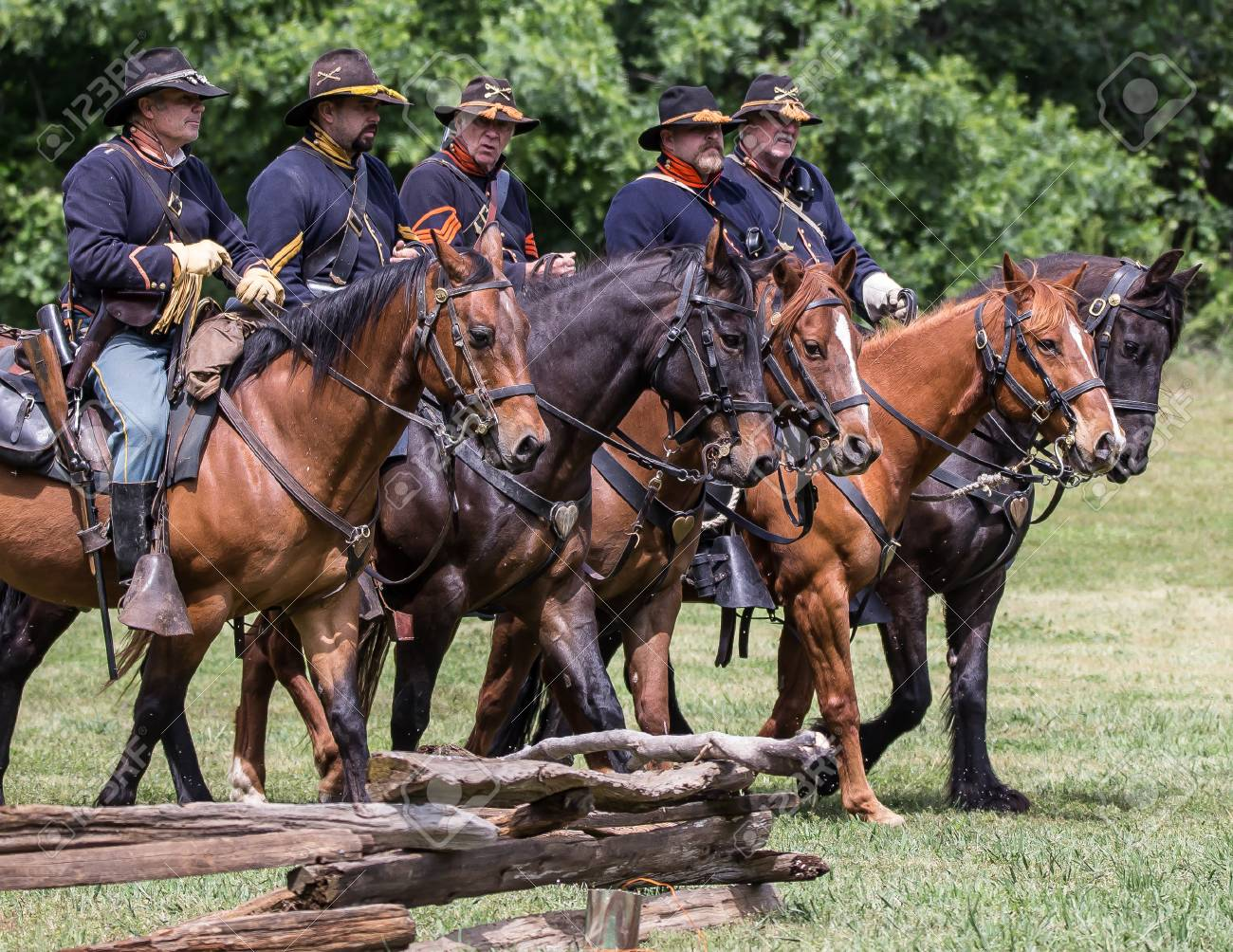 Civil War reenactment action at Dog Island, Red Bluff, California