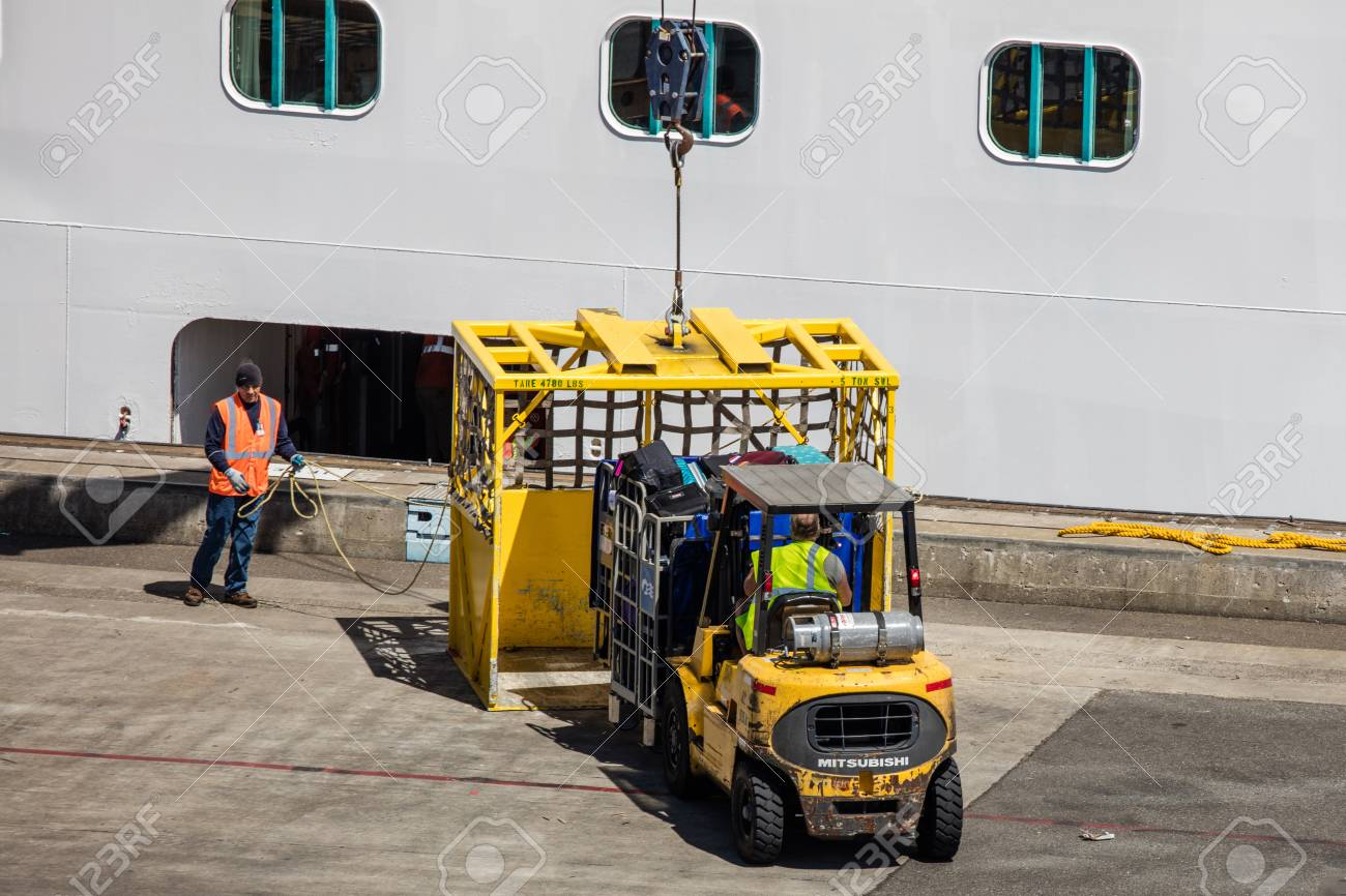 Forklift Loading Supplies On A Cruise Ship In Seattle Stock Photo - Cruise ship supplies