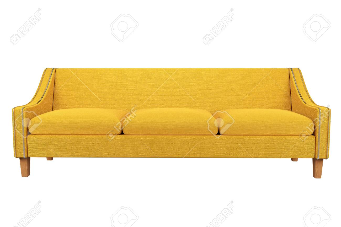 - Yellow Sofa And Chair Fabric Leather In White Background For Use