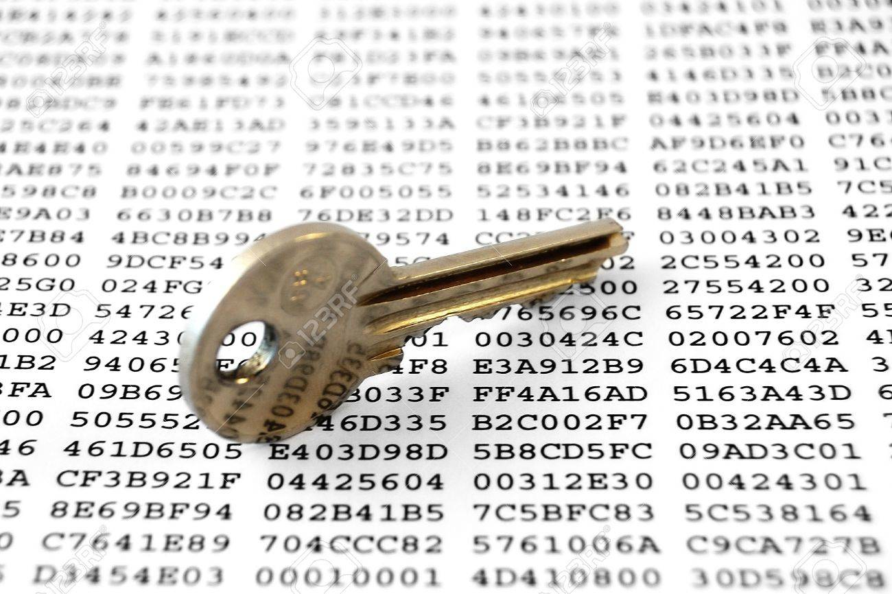 Key on a sheet with encrypted data Stock Photo - 13903139