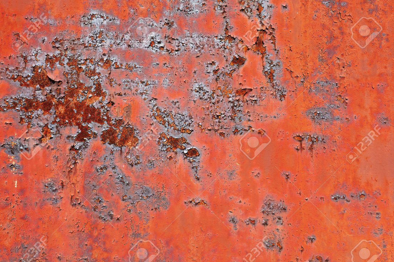 Rusty Metal Surface With Old Peeled Paint For Use As A Texture