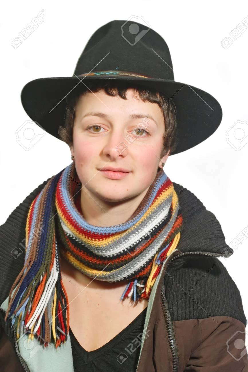 Ritratto di una giovane donna con cappello - isolato su sfondo bianco  Archivio Fotografico - 2670347 8a0a086762af