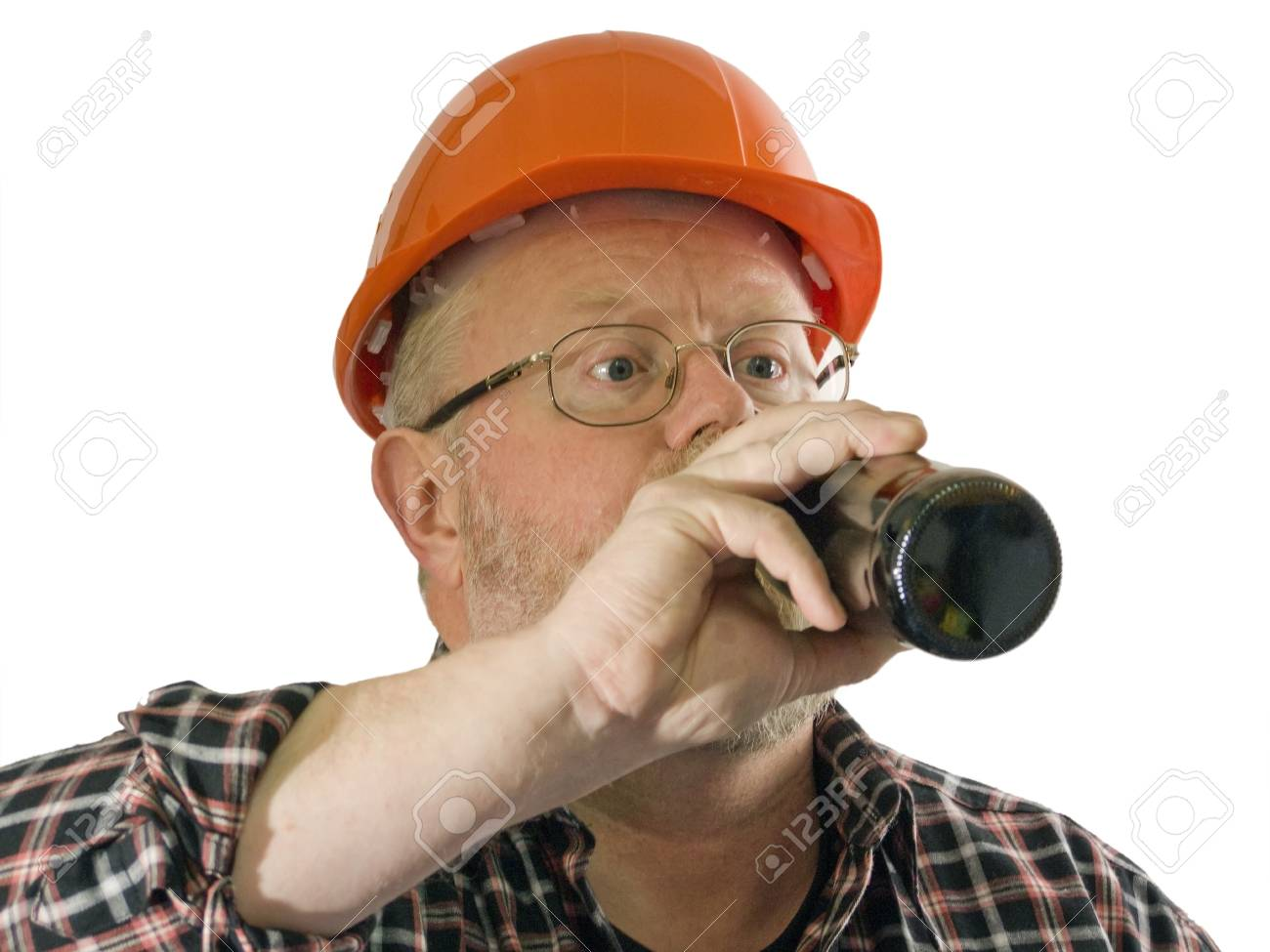 Craftsman with a bottle beer on white background Stock Photo - 4325389