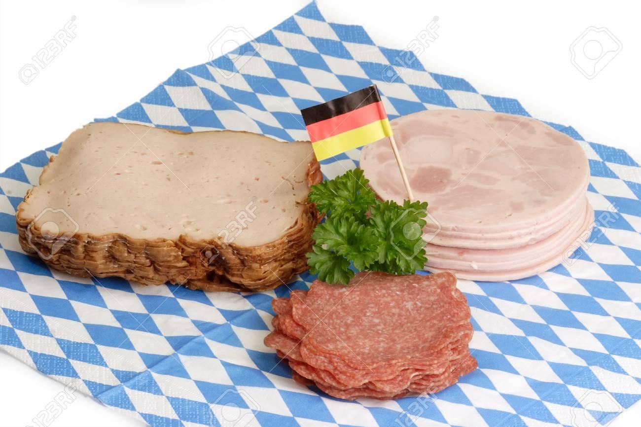 Fresh sliced sausage on bavarian napkin background Stock Photo - 4325957