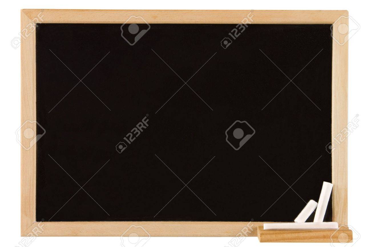 Empty Blackboard With Wooden Frame And Chalks Stock Photo, Picture ...