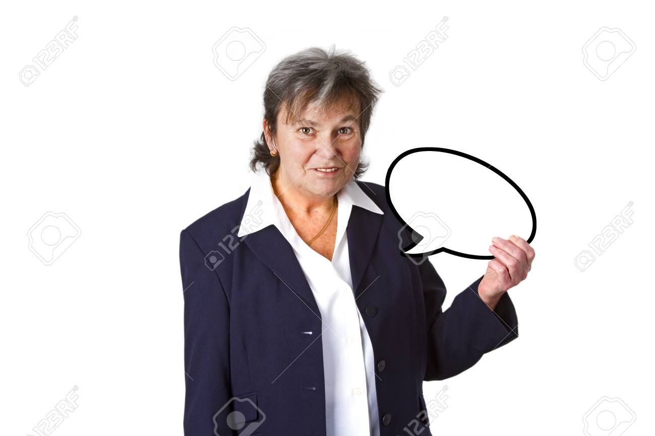 Senior businesswoman with thought bubble - isolated on white background Stock Photo - 13717872
