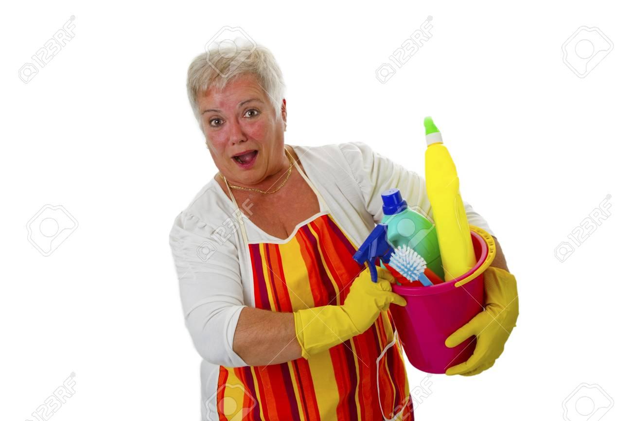Female senior with  cleaning utensils - isolated on white background Stock Photo - 16828074