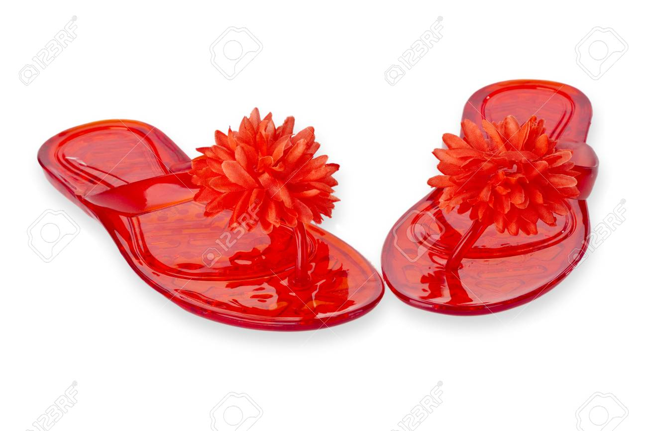 Red Flip Flops With Flower Isolated On White Background Stock Photo
