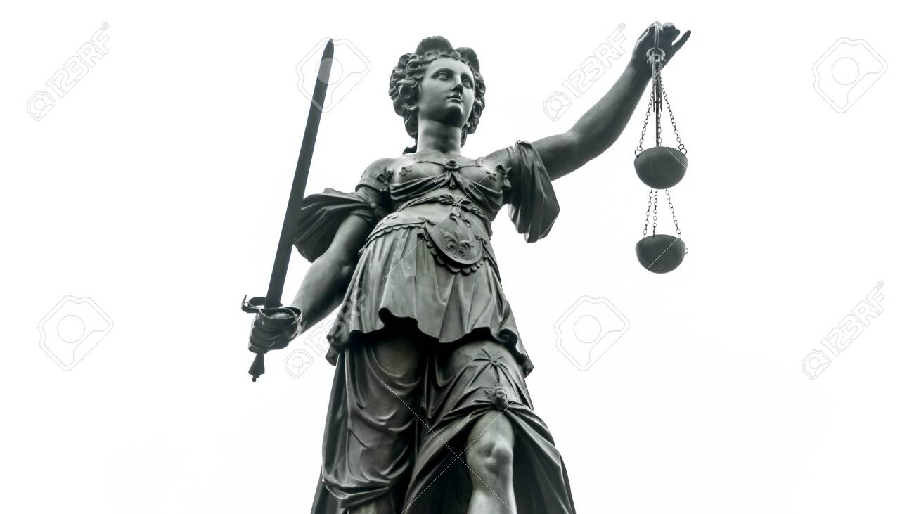 Justice Statue with Sword and Scale in Frankfurt/Main isolated on white Background - 139119940